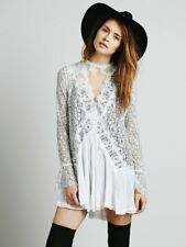 Women Cotton Fall Lace Irregular Slim Boho Hippie Style Mini Short Dress