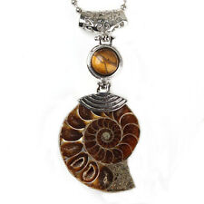 Silver Plated Natural Druzy Ammonite Fossil Amethyst Gemstone Pendant Jewelry