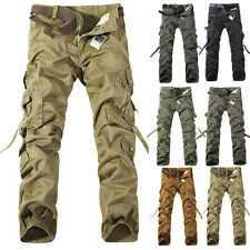 Fashion Mens Cotton Military Baggy Cargo Combat Pants Hot 28 29 30 31 32 34 36++