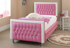 Pink Leather Bed With Memory Foam Mattress,Bed Frame In Single Double King Size