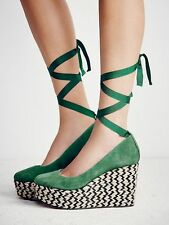 Free People Green Charade Espadrille Lace Up Wedge Platform Pump Shoe Size 37 38