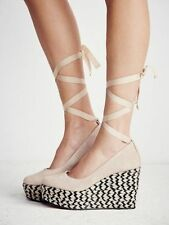 Free People Taupe Charade Espadrille Lace Up Wedge Platform Pump Shoe Size 38 39