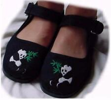 Discontinued Toddler/Girls Black Buckle Mary Jane Cotton Shoe Embroidered Panda