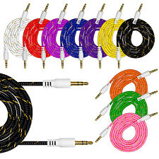 3.5mm 3ft Nylon Car Aux Auxiliary Cord Stereo Audio Cable for Phone iPod PC MP3