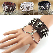 Unisex Skull PU Leather Bracelet Cuff Wristband Gothic Biker Rock Punk Men Women