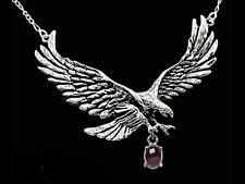 Sterling Silver Large Eagle Pendant with Figaro Chain