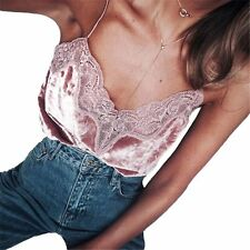 Women Strappy Lace Velvet V Neck Vest Slim Sleeveless Top Tank Blouse CamisoleBR