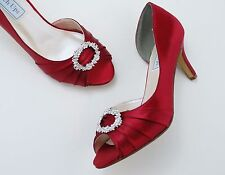 Red Peep-Toe Platform Shoes, High Heels, Bridal Shoes, Touch Ups Ivanna, Holiday