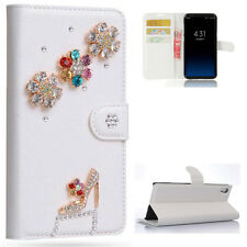 High Heels Crystal Diamonds PU Leather Flip Slot Wallet Case Cover For Samsung