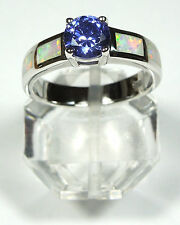 TANZANITE & WHITE FIRE OPAL INLAY 925 STERLING SILVER RING SIZE 6 or 8