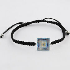 Micro Pave Square Shaped Brass Beads Wrist Wrap Bracelet Adjustable
