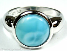 Natural 10mm AAA Larimar & 925 Sterling Silver Solitaire  Ring size 6,7,9
