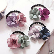 5x/Lot Camellia Elastic Rubber Hair Bands Ponytail Holder Head Rope Ties New