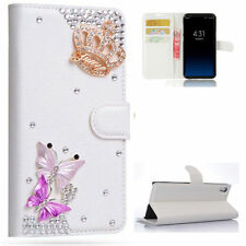 Crown Butterfly Diamond Crystal Leather Wallet Flip Phone Cover Case For Samsung