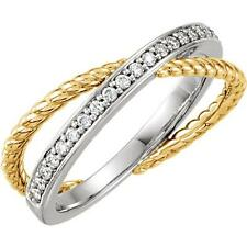 1/5 CTW Diamond Criss Cross Rope Wedding Band Ring 14K Yellow and White Gold