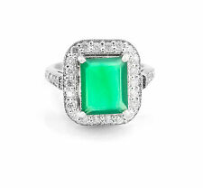 925 Sterling Silver Ring with Emerald Cut Green Onyx Natural Gemstone Handmade.