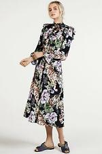 H&M Trend Conscious Black Ruffled Floral Midi Tiger Dress sz 6 RARE SOLD OUT