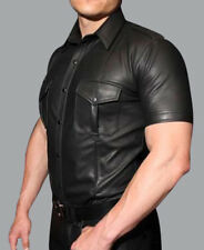 Men's Real Leather Police Uniform Shirt Sexy Short Sleeve Leather BLUF Gay Shirt