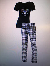 Oakland Raiders Ladies 2 Piece Sleep Set V-Neck Tshirt & Flannel Pajama -NFL Lic