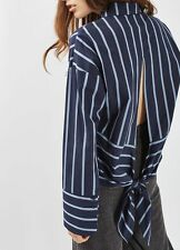 Turn-down collar Long Sleeve Women Shirt Backless Slit Top with Bow Blouse