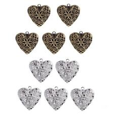 5pcs Vintage Heart Photo Locket Frame Charm Pendant Filigree Lover Gift Can Open