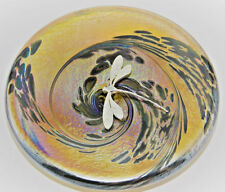 Neo Art Glass disk paperweight sterling silver fairy,frog,dragonfly by K.Heaton