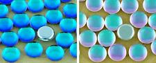 10pcs Crystal Vitrail Turquoise Blue Silver Round Domed Flatback Czech Glass Cab