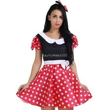 Women Minnie Mouse Lingerie Polka Dots G-string Bowknot Hair Hoop Costume Dress