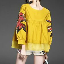 European Shirt Autumn Fish Embroidery Sequins Puff Sleeve Shirt Loose Blouse Top