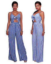 Summer Women Evening Rompers Sexy Bandage Jumpsuits Stripe Pant Party Overall