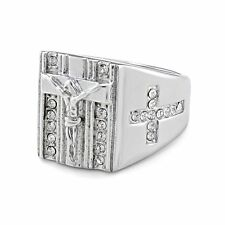 Fashion Silver Jesus Cross Rings Steel Rings Jewelry Band Punk Womens Mens Gift