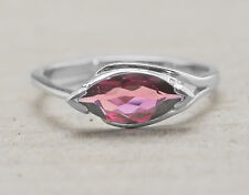 925 Sterling Silver Ring with Natural Marquise Red Rhodolite Gemstone Handmade