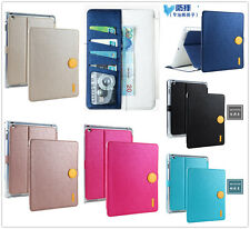For iPad Retro Solid Magnet Clasp Flip Smart Cover PU Leather Wallet Stand Case