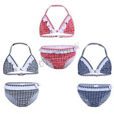 Girls Kid Plaid Bowknot Bikini Swimsuit Swimwear Halter Tankini Tops Bottoms Set