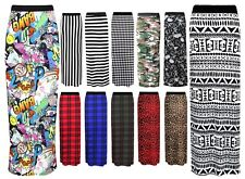 LADIES WOMENS Printed JERSEY MAXI SKIRT GYPSY BODYCON SUMMER DRESS SIZE 8-26