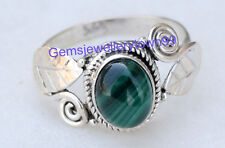 Green Malachite Ring 925 Sterling Silver Stone Ring Size 4 5 6 7 8 9 10 11 R28ML