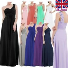 Women Long Chiffon One Shoulder Bridesmaid Party Pleated Evening Prom Gown Dress