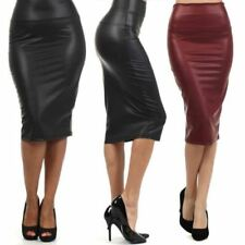 Women Plus size high-waist faux leather pencil skirt black skirt 12 colors XS/S/