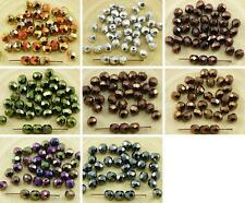 40pcs Metallic Czech Glass Round Faceted Fire Polished Beads 6mm
