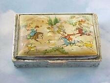 Antique CHINESE SNUFF BOX Silver Plated Copper Gorgeous Scene on Mother of Pearl