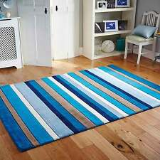 Modern Contemporary 100% WOOL BLUE Stripes Design RUG  NOW  20%OFF