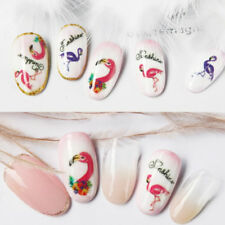 Water Nail Art Stickers Transfers Decals Summer Palm Trees Pink Flamingo Beach