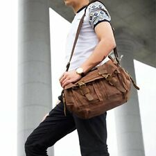 Military Sports Canvas Leather Briefcase CrossBody Laptop Shoulder Bags Satchel