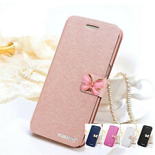 For iPhone 6 6s 7 Plus Luxury Silk Magnetic Flip PU Leather Wallet Case Cover