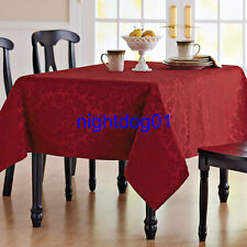 CLOTH TABLECLOTH ROUND 70 OBLONG 60 X 84/102 DAMASK Holiday NEW Christmas Thanks
