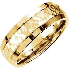 7.5 MM Comfort Fit Fancy Carved Hammer Satin Finish Wedding Band Ring 14 Gold