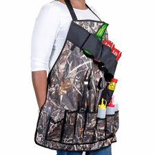 Outdoor Picnic BBQ Grill Apron With Tool Pockets and Beer/Spice Bottles Holder