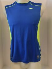 New Nike Men's  HYPERCOOL FITTED TANK TOP  Blue/Volt 449840-496  *
