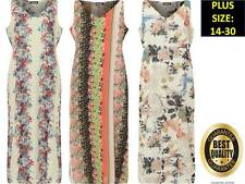 Plus Womens Halterneck Strappy Floral Print Chiffon Long Lined Maxi Dress 14-30