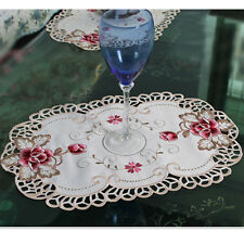 1/4PCS Embroidered Peony Cutwork Dinning Table Placemats Lace Oval Doily Mat
